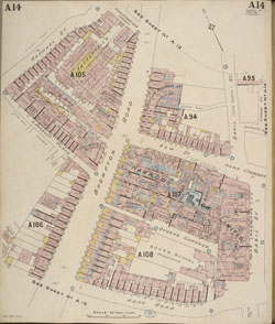 Insurance Plan of London. Shows streets, buildings, firms, wharves